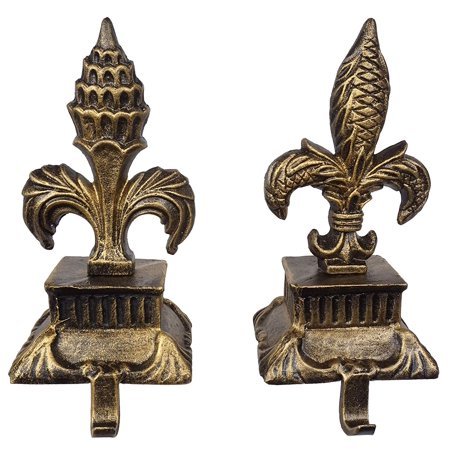 LuLu Decor, Metallic Gold cast Iron Fleur de lis Christmas Stocking Holders, Set of 2 Strong Sturdy Hooks on a Pillar Like Base, Sophisticated Hooks, Beautiful Mantel Decoration (2 Piece Set) ()