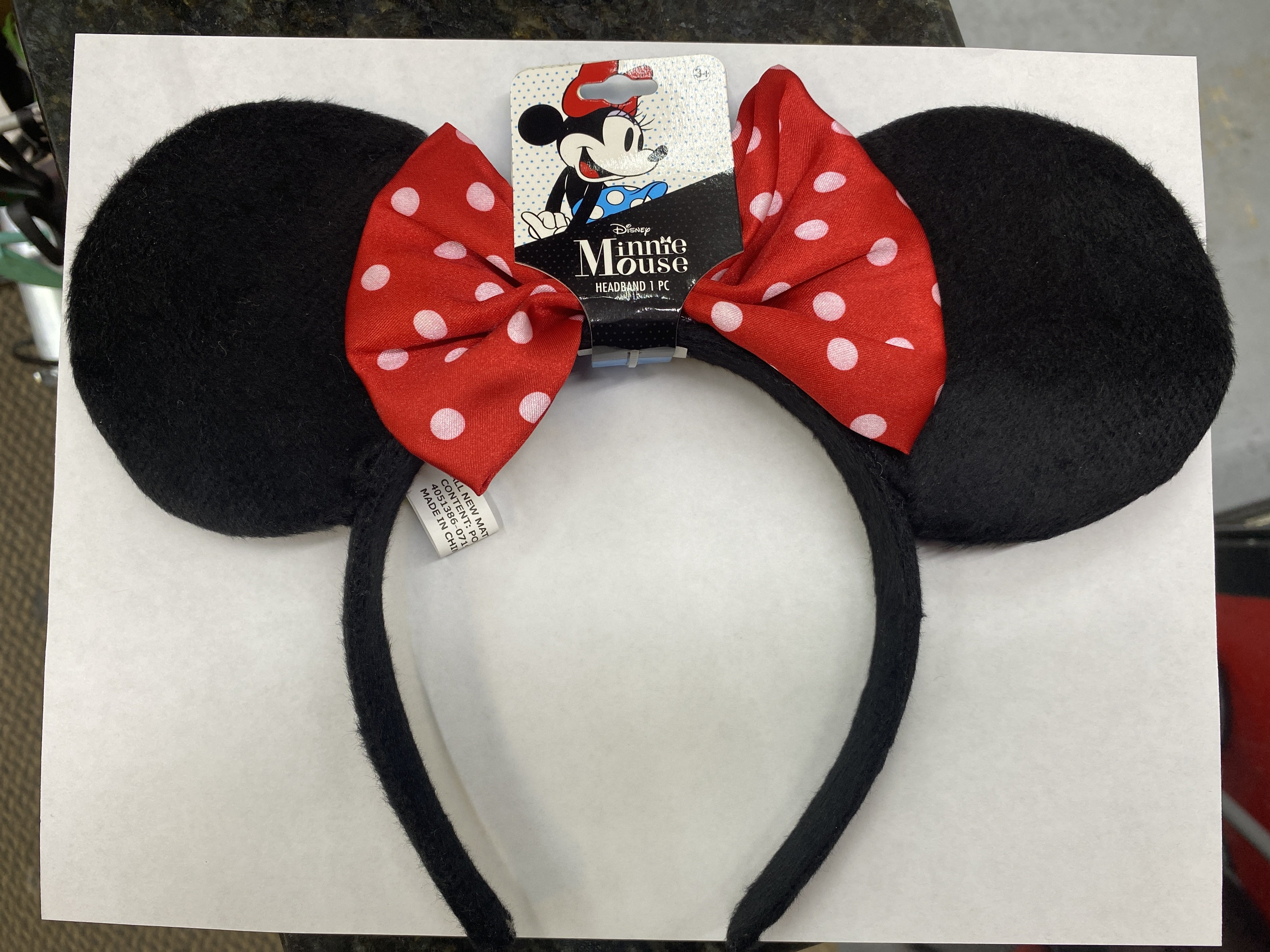 Details about  /Minnie Mouse Ears Headband W//Red Bow Adult