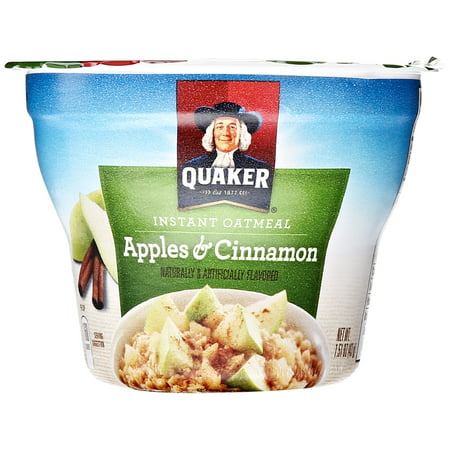 (12 Pack) Quaker Instant Oatmeal Express Cup, Apples & Cinnamon, 1.51 (Jasmine Oatmeal)