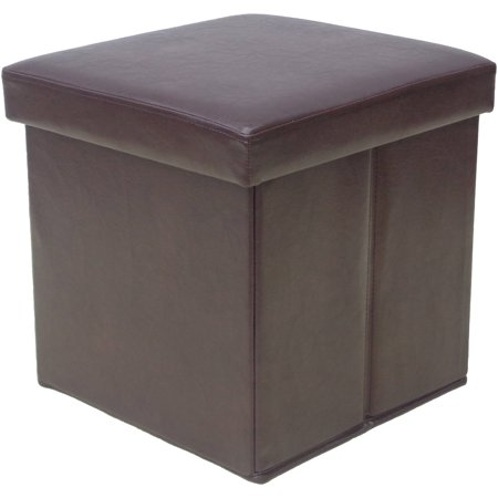 Mainstays collapsible storage ottoman dark brown for Storage ottoman walmart