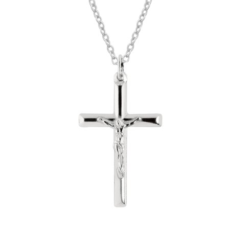 Sterling Silver Polished or Gold Overlay Italian Crucifix Cross Charm Pendant Necklace  (16, 18, 20, 24 Inches)