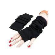 Women's Knitted Stretchy Arm Warmer Long Plain Fingerless Mittens Gloves