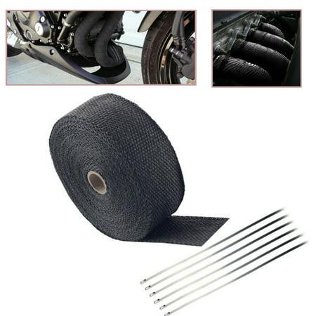 "2"" 50Ft Fiberglass Exhaust Header Pipe Heat Wrap Tape + Ties Kit"