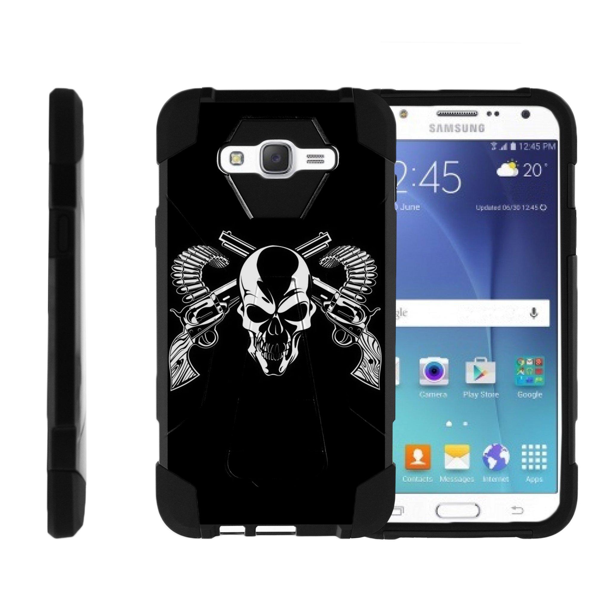 TurtleArmor ® | For Samsung Galaxy J7 J700, J700F, J700M, J700H (2015) [Dynamic Shell] Dual Layer Hybrid Silicone Hard Shell Kickstand Case - Mercenary Skull