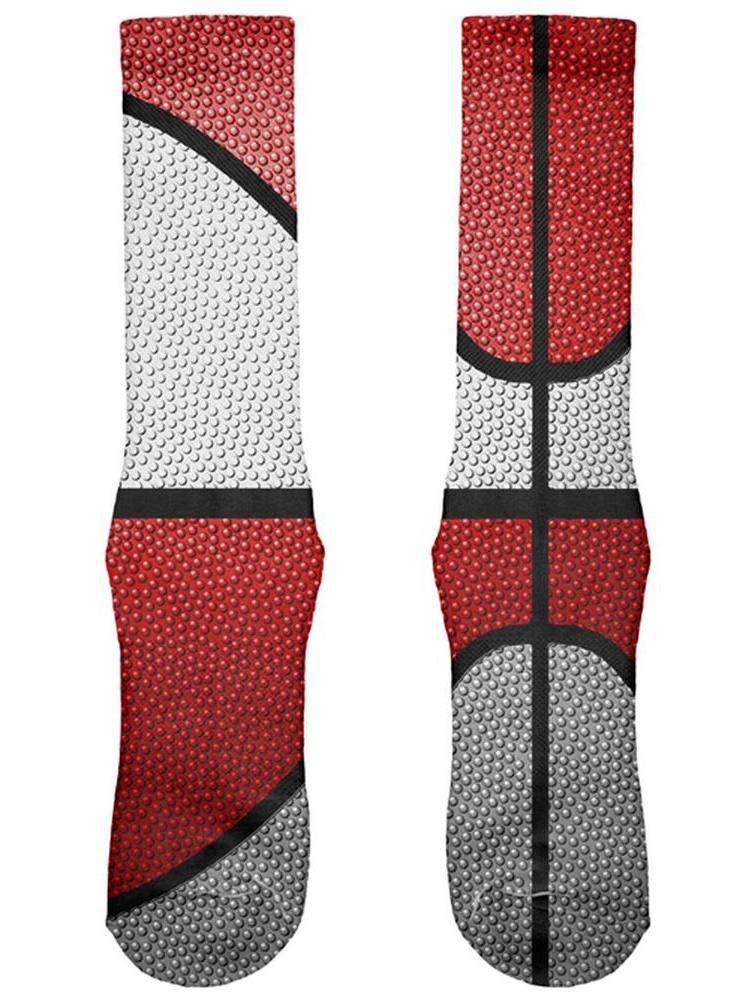 Championship Basketball White & Red All Over Soft Socks
