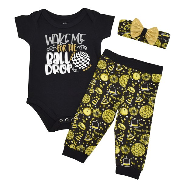 Unique Baby Girls Wake For The Ball Drop New Years Outfit Layette Set 9 Months Walmart Com Walmart Com