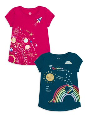Wonder Nation Girls 4-18 & Plus Glitter Graphic T-Shirts, 2-Pack