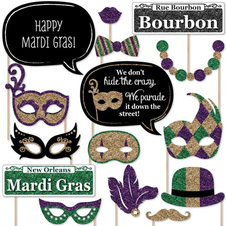 Mardi Gras - Masquerade Party Photo Booth Props Ki - 20 Count for $<!---->
