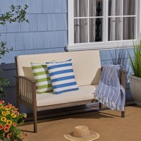 Brendon Outdoor Acacia Wood Loveseat with Cushion, Gray, Cream