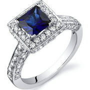 1 ct Princess Cut Created Blue Sapphire Ring in Sterling Silver