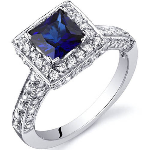 Oravo 1.00 Carat T.G.W. Princess-Cut Created Blue Sapphire Rhodium over Sterling Silver Engagement Ring
