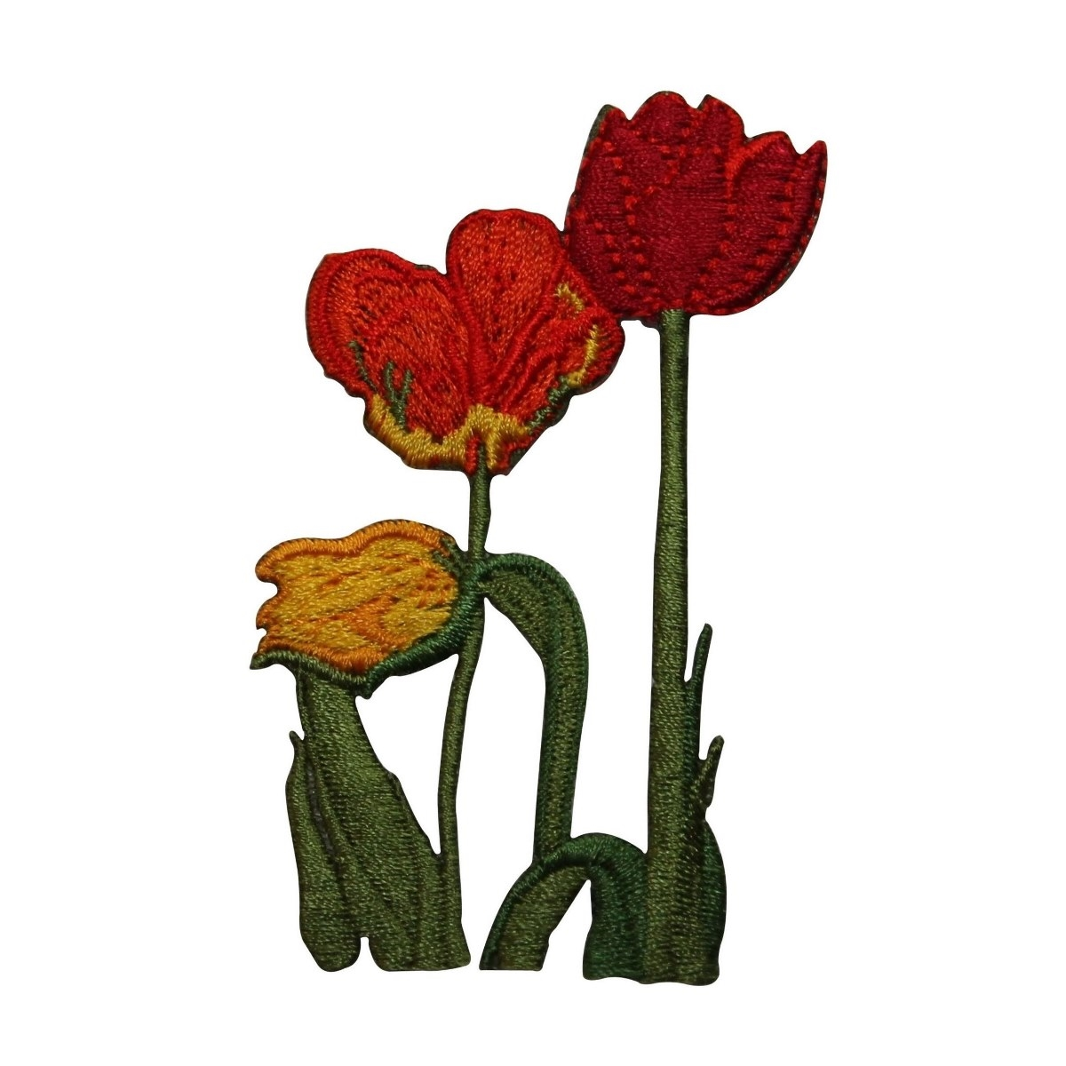 ID 6936 Multi Colored Tulips Patch Garden Flowers Embroidered Iron On Applique
