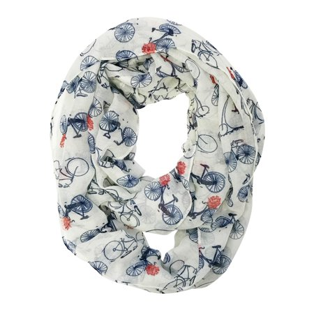 Wrapables? Lightweight Vintage Bicycle Infinity Scarf, White