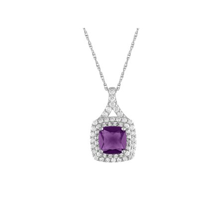 Treated Amethyst and CZ Sterling Silver Double-Halo Cushion Pendant, 18