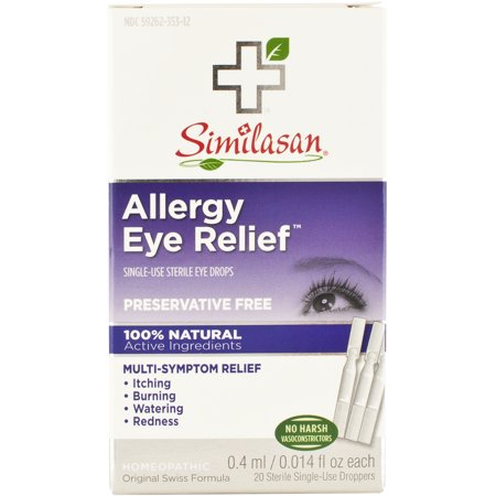 Similasan Original Swiss Formula Homeopathic Allergy Eye Relief Single-Use Sterile Eye Drops, 20ct