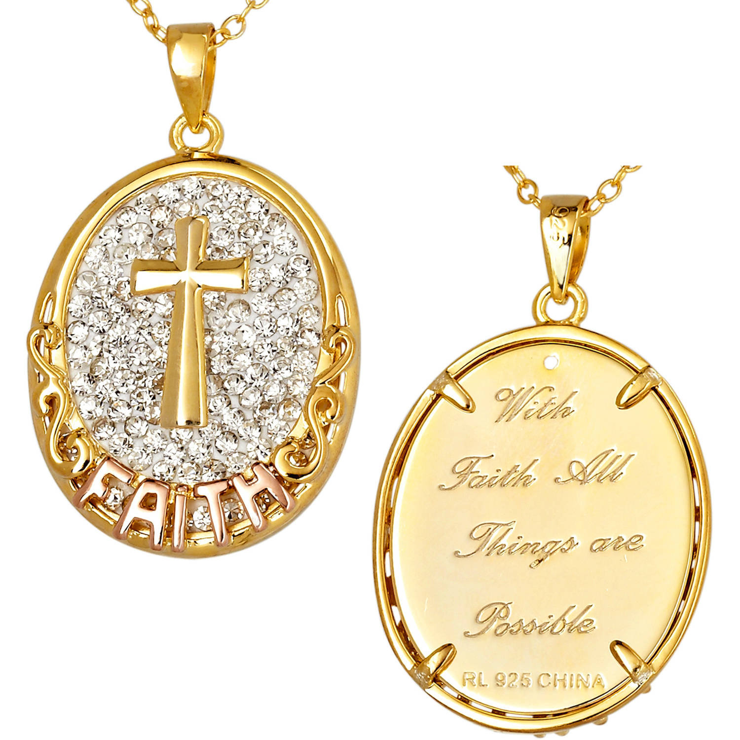 Ss18kpl Oval Cross & Faith W Crystal
