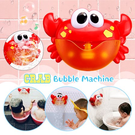 Crab Bubble Machine Music Bubble Maker Bath Baby Bath Shower Fun Red Plastic Toy