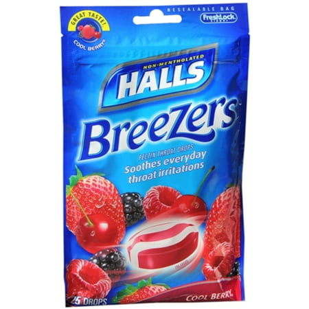 Halls Breezers Drops Cool Berry 25 Each  Pack Of 4