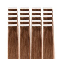 FLORATA Remy Tape in Human Hair Extensions, Light Brown, 16 inch (20 pcs)