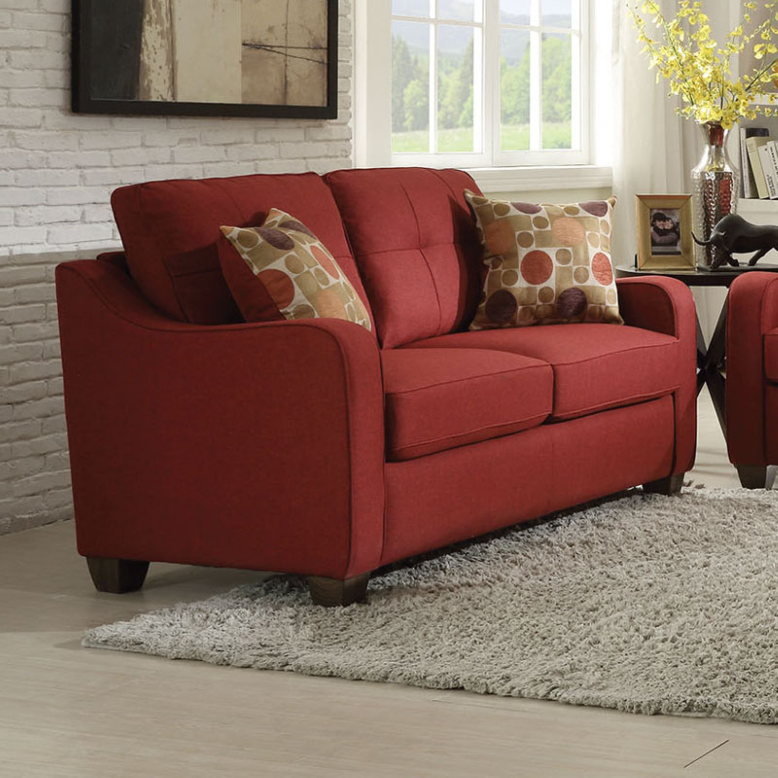 ACME Cleavon II Loveseat with 2 Pillows, Red Linen