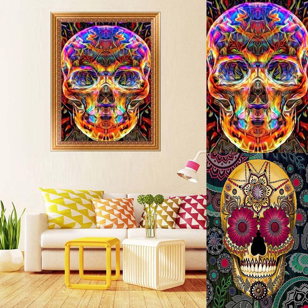 Heepo DIY Skull Head 5D Full Diamond Painting Canvas Cross Stitch Craft Kit Home Decor