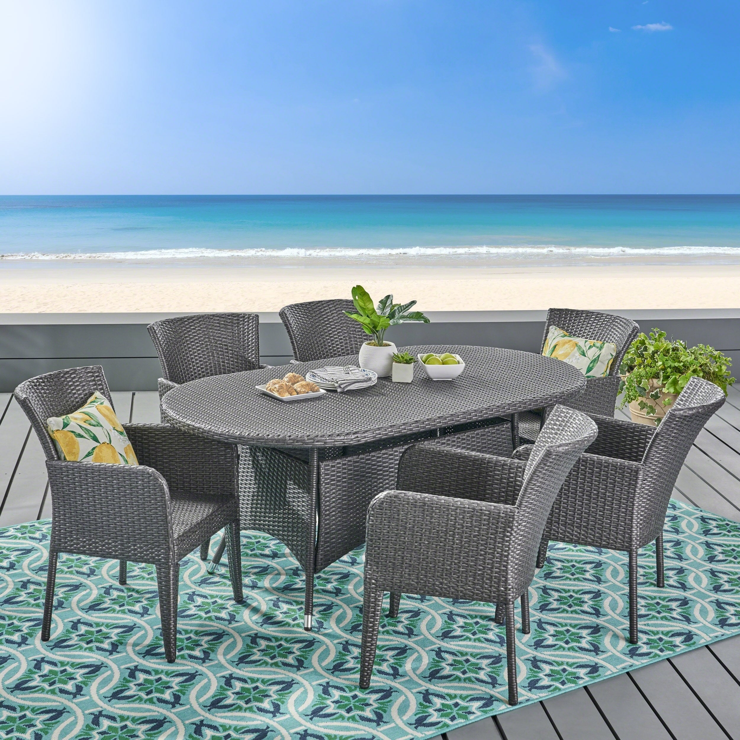 Christopher Knight Home Corsica Outdoor 7-piece Wicker Dining Set by