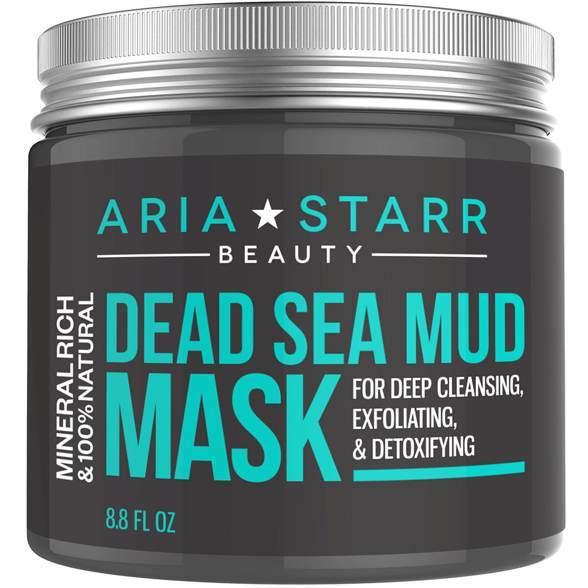 Aria Starr Dead Sea Mud Mask For Face, Acne, Oily Skin & Blackheads - Best Facial Pore Minimizer, Reducer & Pores Cleanser Treatment - 100% Natural For Younger Looking Skin 8.8oz
