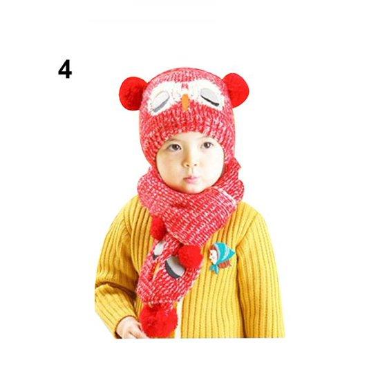 cea12d4fc50 Moderna - Moderna Baby Kids Girls Boys Owl Shaped Cap Winter Knitted Warmer  Beanie Hat Scarf Set - Walmart.com