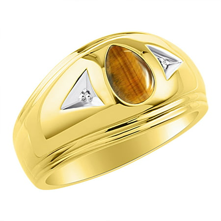 Mens Tiger Eye & Diamond Ring Sterling Silver or Yellow Gold Plated Silver Band Quartz Tigers Eye Ring