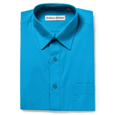 Gentlemens Collection Mens 1904 Short Sleeve Classic Fit Easy Care Dress Shirt- Aqua - 20 ()