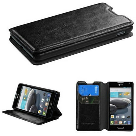 D500 Compressor - LG D500 Optimus F6 MyBat MyJacket Wallet, Black