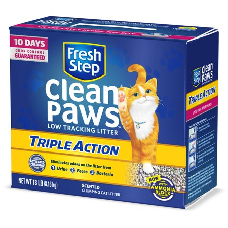 Fresh Step Clean Paws Triple Action Scented Litter, Clumping Cat Litter, 18 lbs - Kitty Paw