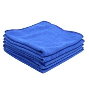 5pcs Blue Microfiber Cleaning Cloth Absorbent Car Home Washing Towel 30cm x 30cm