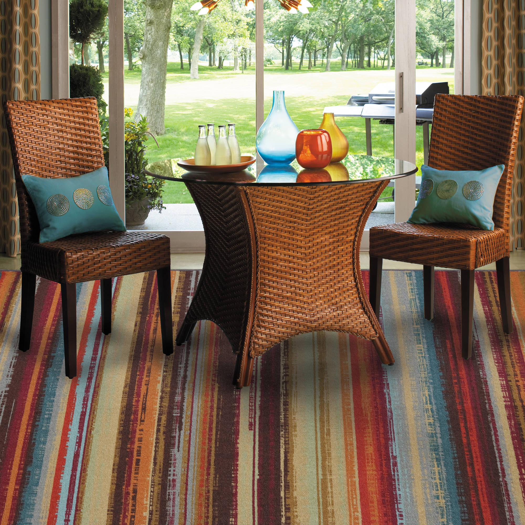 Mohawk Home Avenue Stripe Indoor/Outdoor Nylon Rug, Multi-Colored
