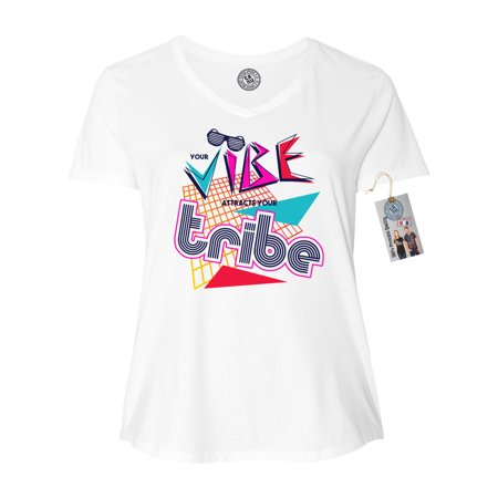 a8a1a7aa1 Custom Apparel R Us - Vibe Tribe 90's Retro Plus Size Womens V-Neck T-Shirt  Top - Walmart.com