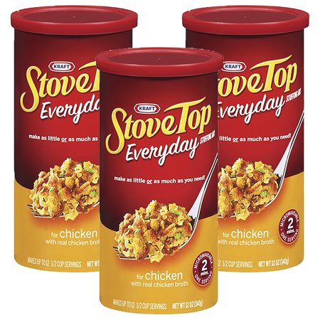 (3 Pack) Kraft Stove Top Everyday Stuffing Mix for Chicken, 12 oz (Mushroom Stuffing)