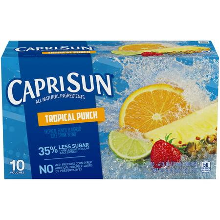 (4 Pack) Capri Sun Tropical Punch Ready-to-Drink Soft Drink, 10 - 6 fl oz Pouches - Halloween Capri Suns