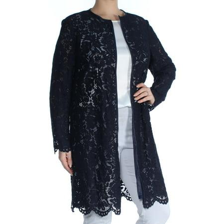 RALPH LAUREN Womens Navy Lace  Open Front Lace Floral Long Sleeve Jewel Neck Blouse Evening Top  Size: L