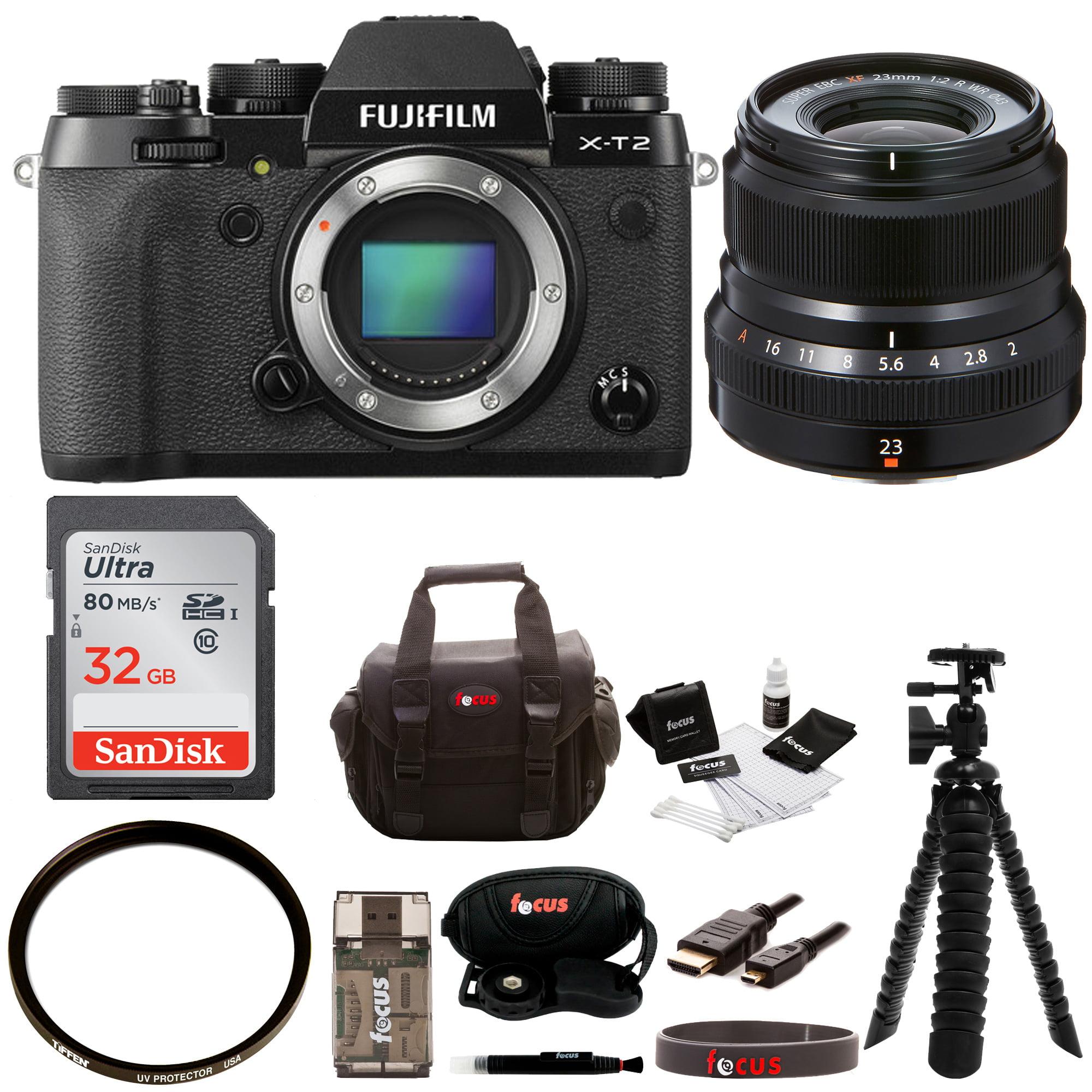 FujiFilm X-T2 Mirrorless Digital Camera (Body Only) w 23mmF2 R WR Lens + 32gb Kit by Fujifilm