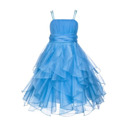 Ekidsbridal Organza Turquoise Blue Flower Girl Dress Ruffled Bodice Junior Bridesmaid Recital Easter Holiday Wedding Pageant Occasions Communion Princess Birthday Girls Clothing Baptism 151S size 8 - Blue Girls Dress