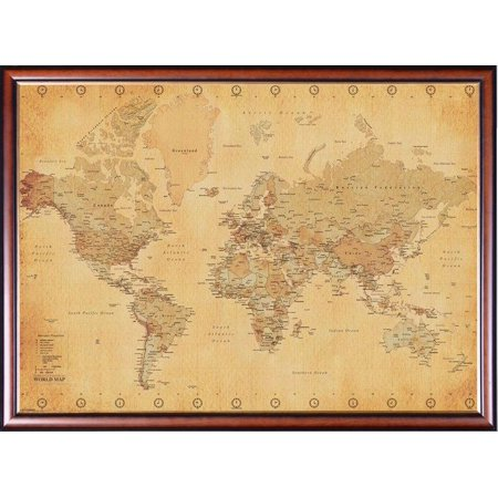 FRAMED Vintage World Map 24x36 Dry Mounted in Executive Series ...