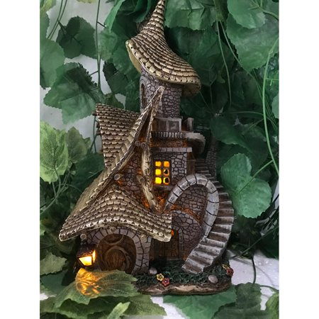 HI-LINE GIFT LTD. FAIRY GARDEN - HOUSE WITH CROOKED ROOF & SOLAR LIGHT ()