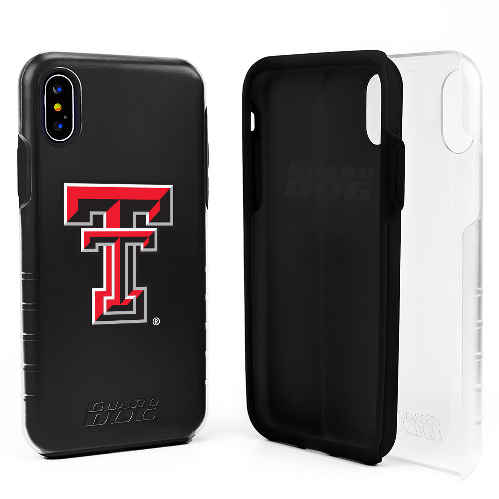 Texas Tech Red Raiders Clear Hybrid Case for iPhone X / Xs with Guard Glass Screen Protector - Clear with Black