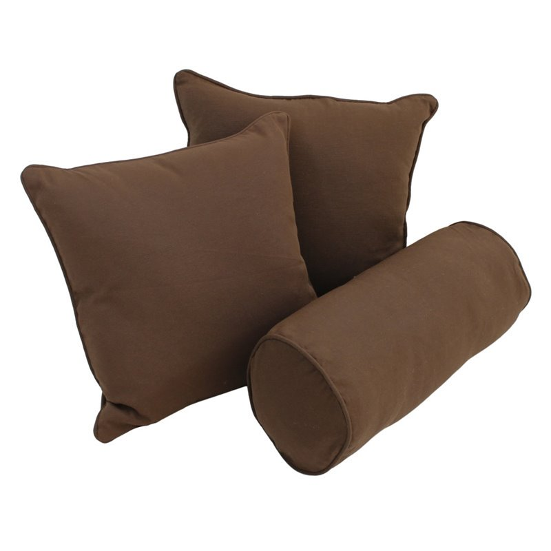 "Blazing Needles 18"" Futon Solid Twill Pillows with Bolster Package-Chocolate"