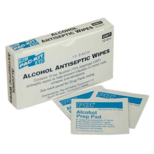 PAC-KIT 12-011G Alcohol Prep Pads,1-1/4 x 2-1/4 In,PK 10