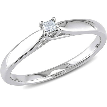 Princess-Cut Diamond Accent Sterling Silver Solitaire Promise Ring Daring Diamonds Diamond Ring