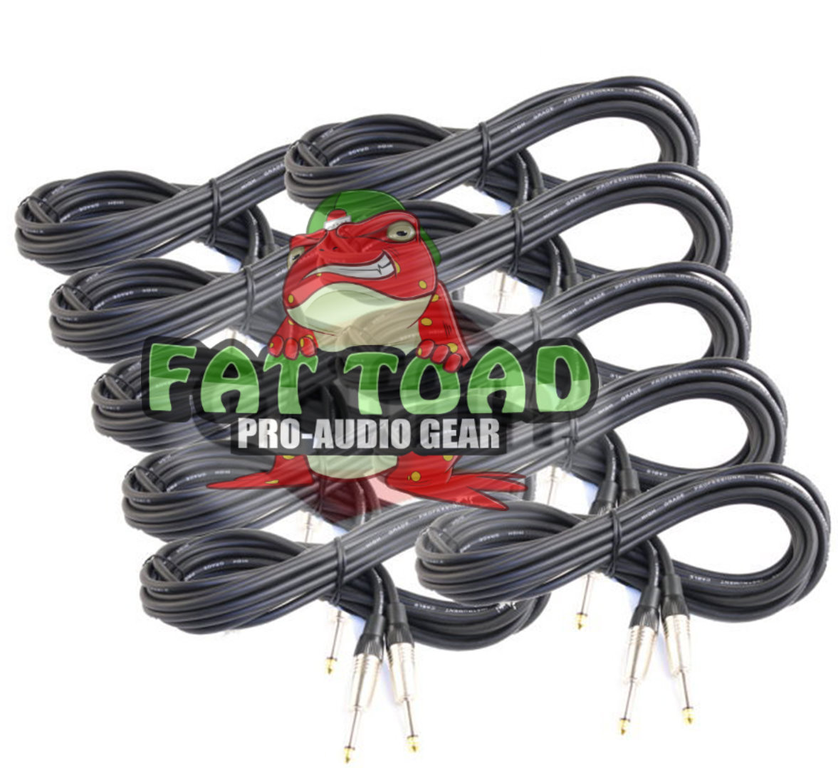 Guitar Cables (10 Pack) Instrument Cord by Fat Toad 20 Gauge Patch Conductor for Electric... by Fat Toad