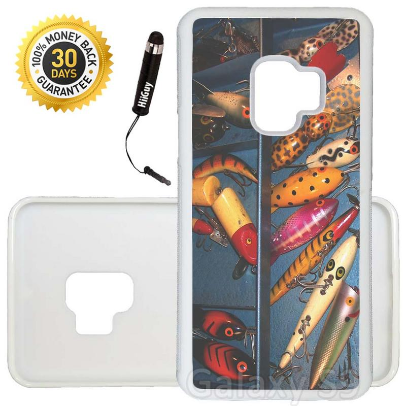 Custom Galaxy S9 Case (Fishing Bait Tackle Box) Edge-to-Edge Rubber White Cover Ultra Slim | Lightweight | Includes Stylus Pen by Innosub