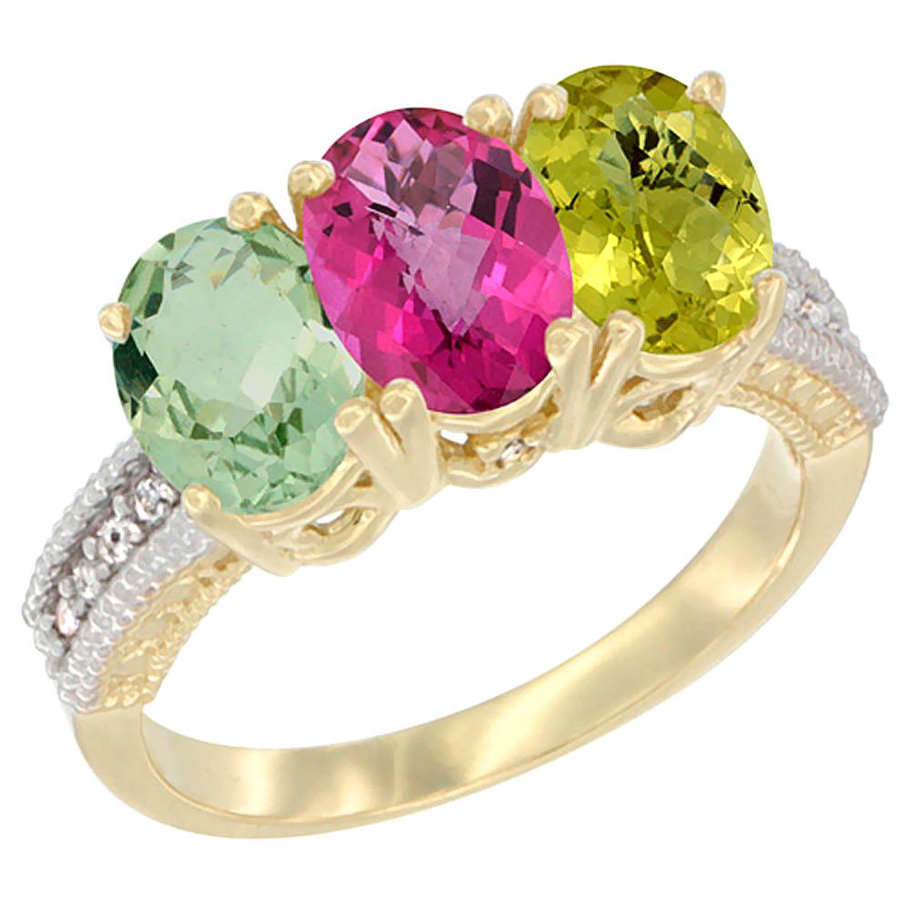 10K Yellow Gold Diamond Natural Green Amethyst, Pink Topaz & Lemon Quartz Ring Oval 3-Stone 7x5 mm,sizes 5-10 by WorldJewels