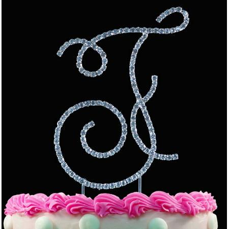 Crystal Monogram - Yacanna Swirl Design Crystal Monogram Cake Toppers Silver Cake Initial F Large